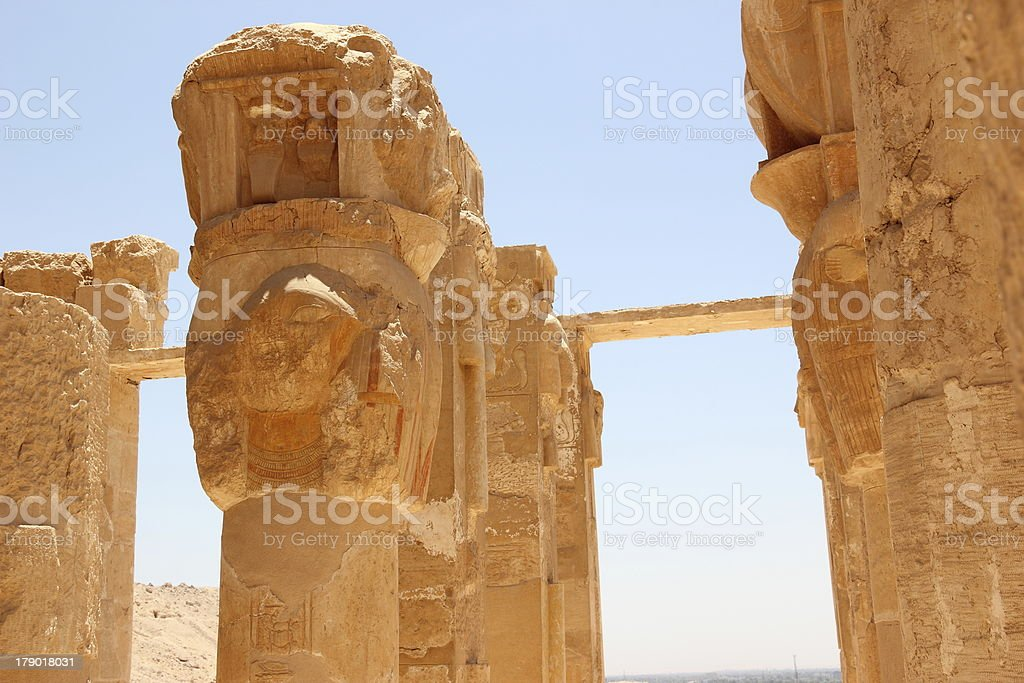 Pillars at the Mortuary Temple of Hatshepsut. stock photo