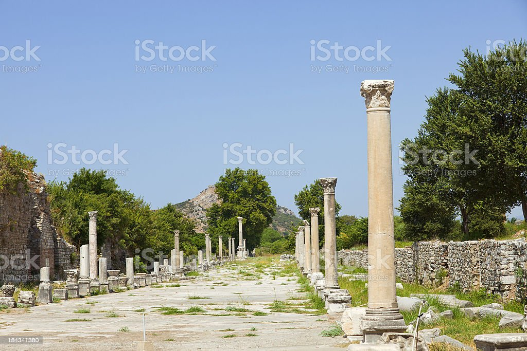 Pillars line the Street of Curetes - Ephesus royalty-free stock photo