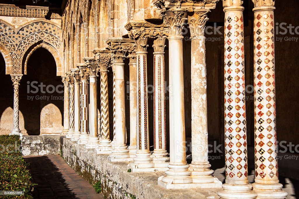 Pillars of Cathedral of Monreale, Sicily; Italy stock photo