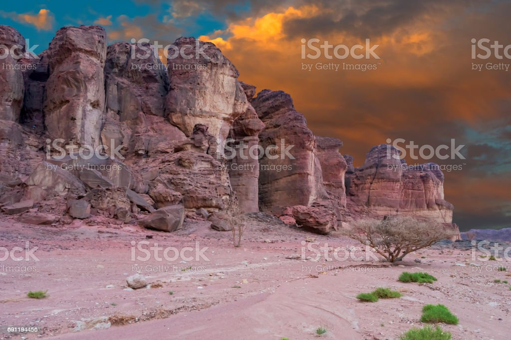 Pillars of Solomon's king after sunset, Timna park, Israel stock photo