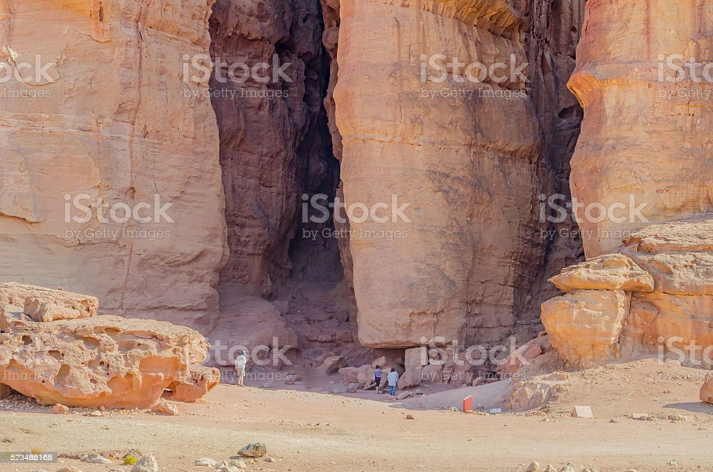 Pillars of Solomon's king in Timna park, Israel stock photo