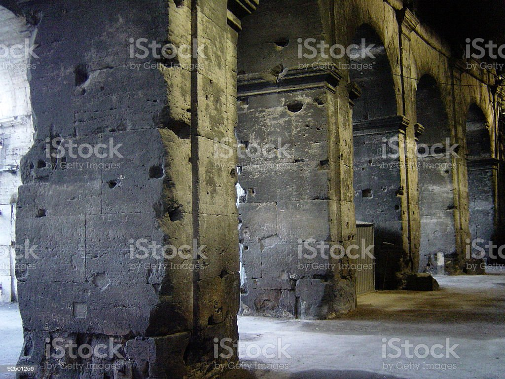 Pillars of the Colosseum, Rome royalty-free stock photo