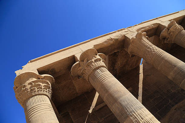 pillars of the karnak temple features, in Egypt stock photo