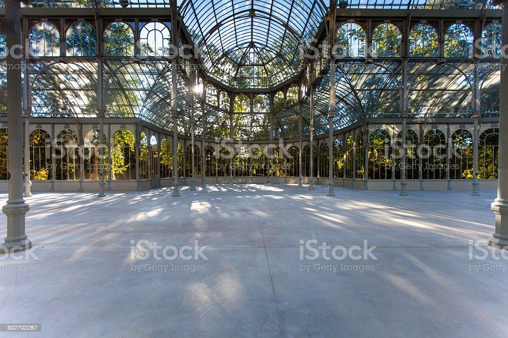 Pillars of the Palacio de Cristal, Madrid stock photo