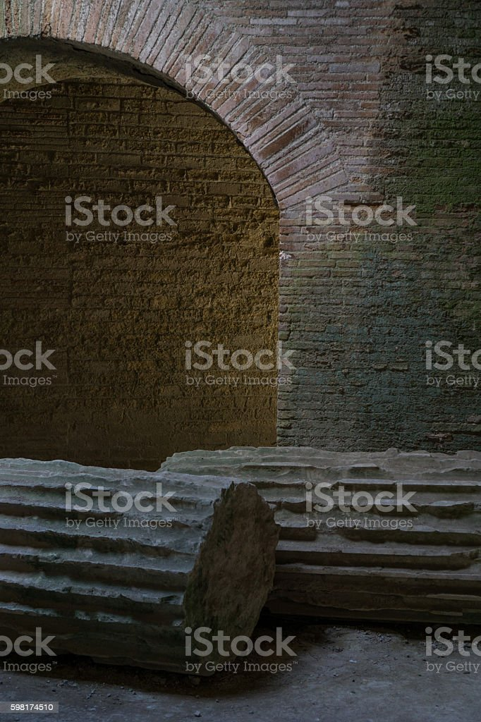 Pillars standing in basement of Flavium amphiteatrum in Pozzuoli, Naples, Italy stock photo