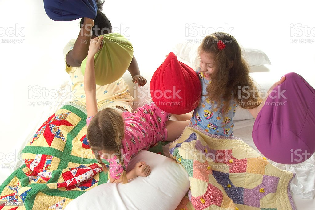 pillow fight 4 royalty-free stock photo