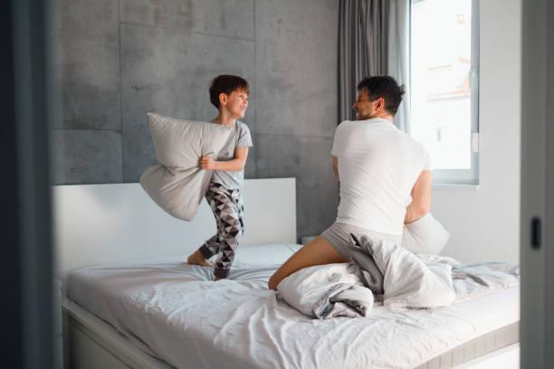 Pillow fight stock photo