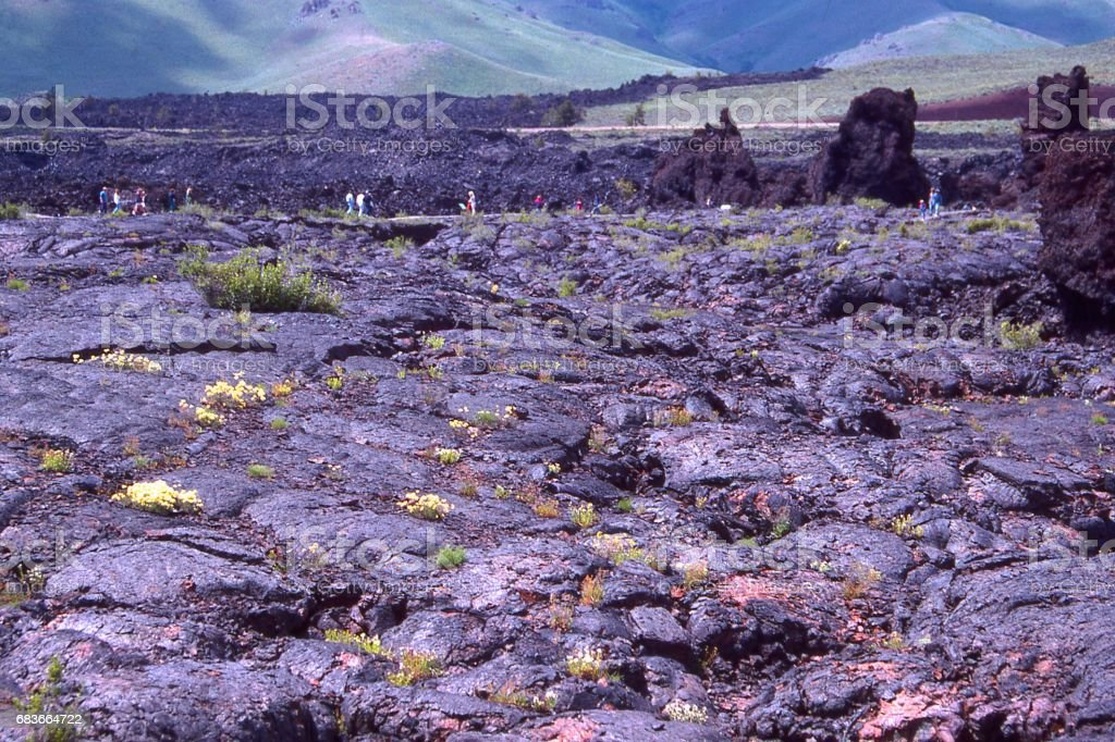 Pillow Lava fields along trail in Craters of the Moon National Monument and Preserve Idaho stock photo