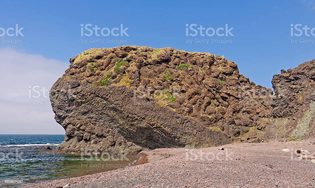 Pillow Lava Formation on a Remote Ocean Coast stock photo