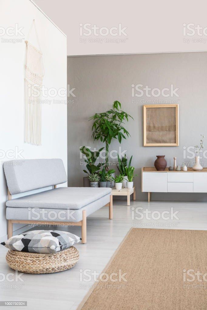 Kissen Auf Hocker Neben Graue Couch Im Scandi Wohnzimmer Interieur