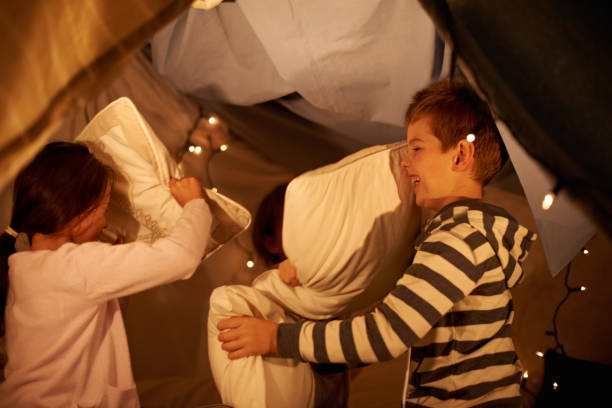 Pillow war! stock photo