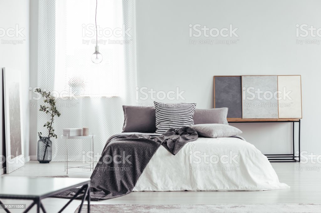 Pillow with houndstooth pattern stock photo