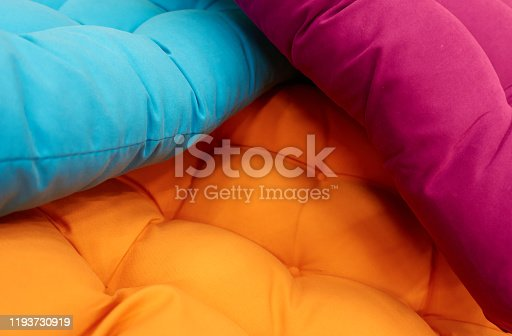 Colorful  pillows , close up