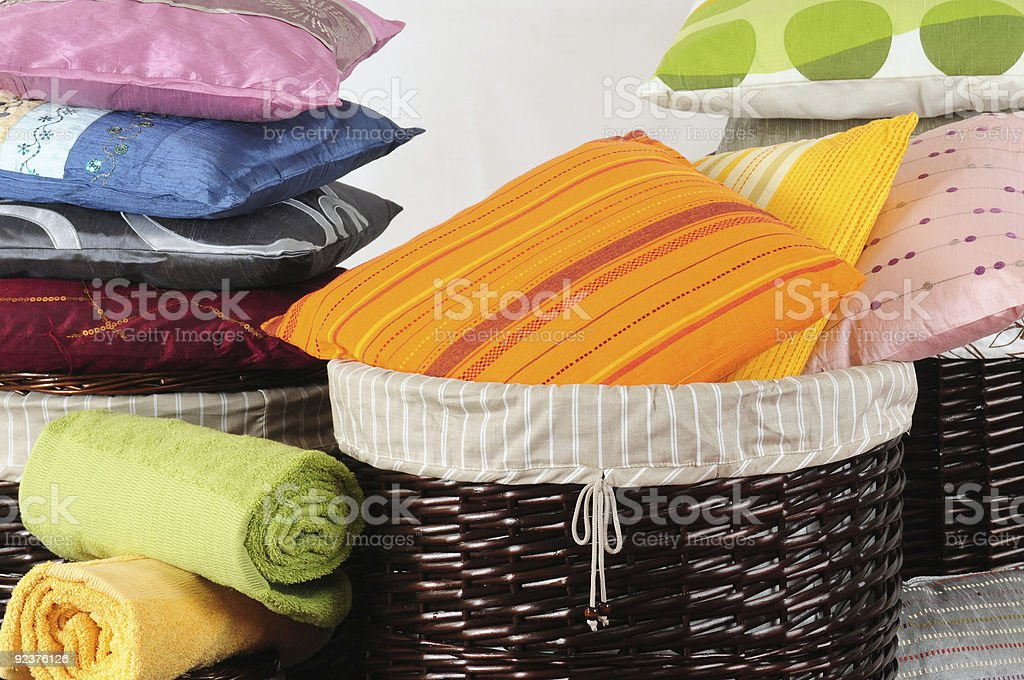 Pillows in baskets. royalty-free stock photo