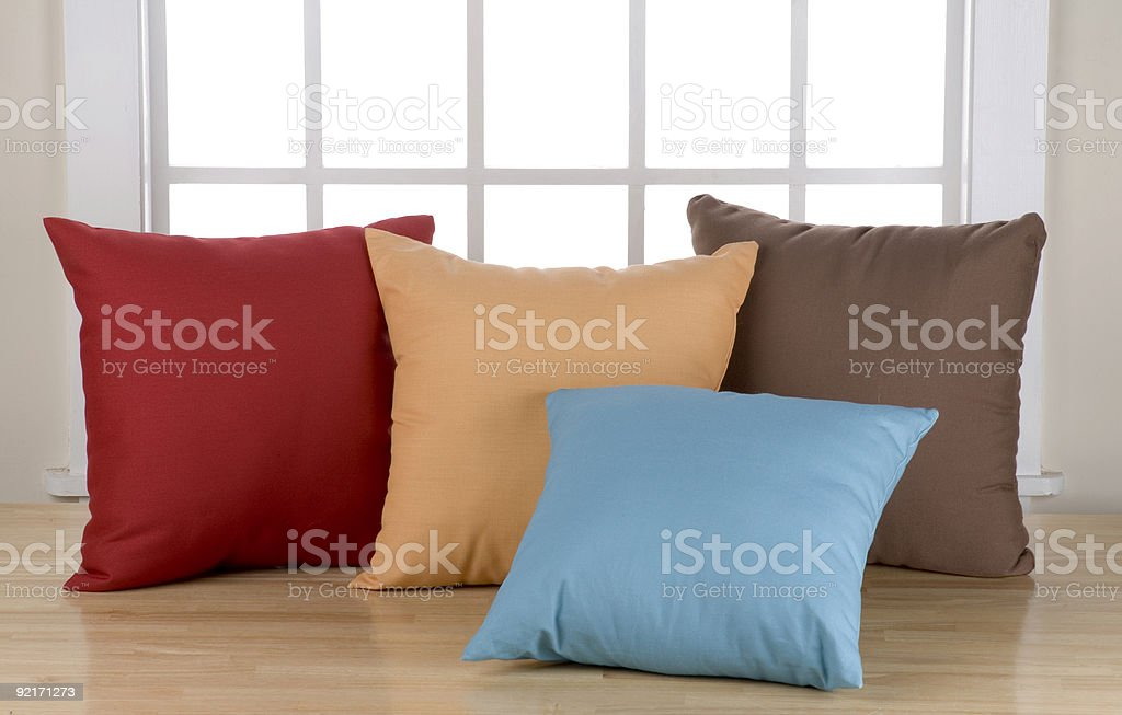 Pillows In Front of window stock photo