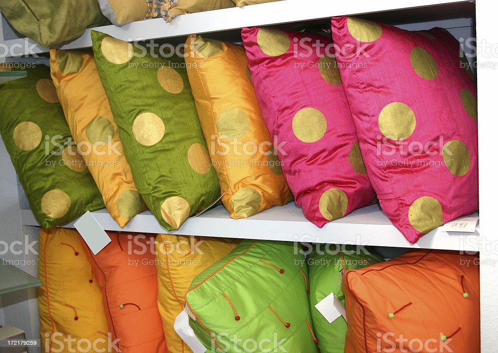 Pillows on a Shelf royalty-free stock photo
