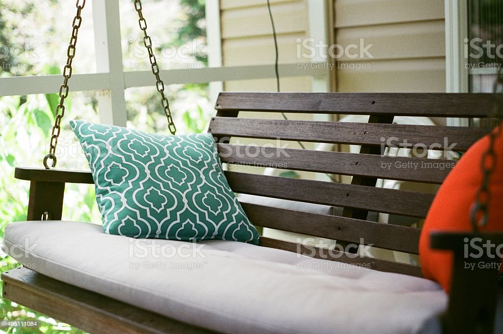Pillows on Hanging Swing stock photo