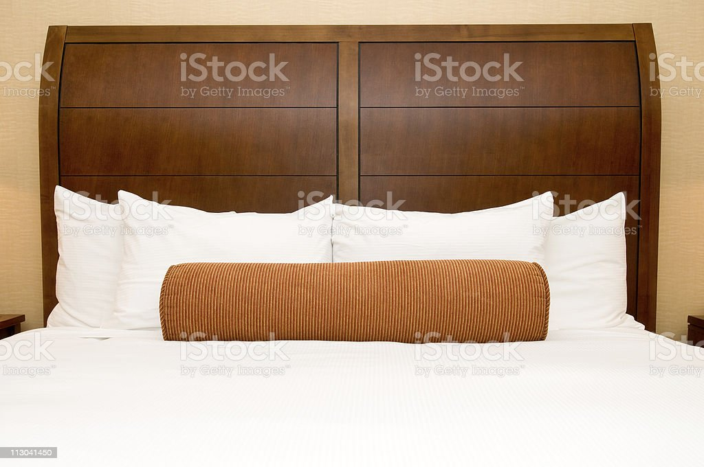 Pillows on hotel bed stock photo
