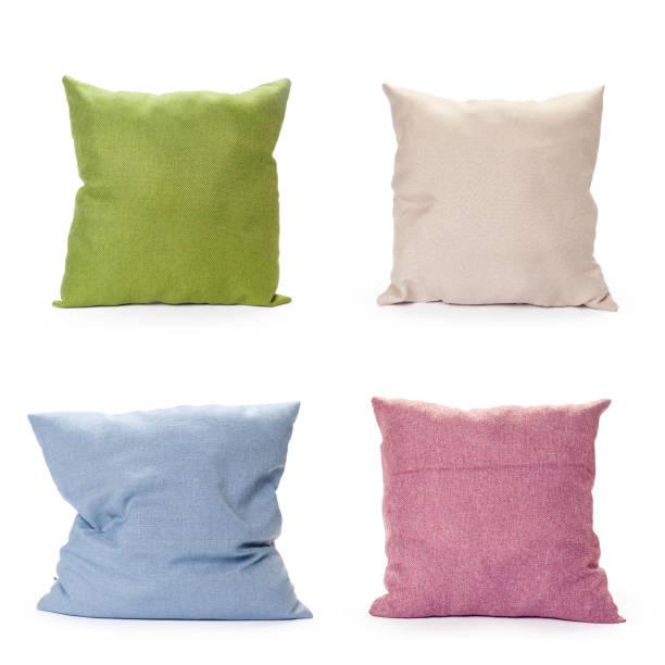 pillows on white background - подушка стоковые фото и изображения