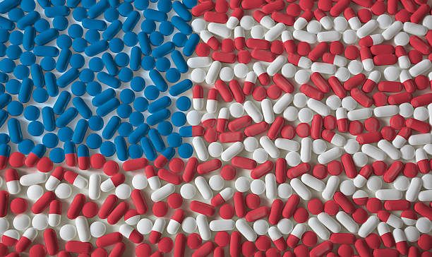 Pills: American Flag stock photo