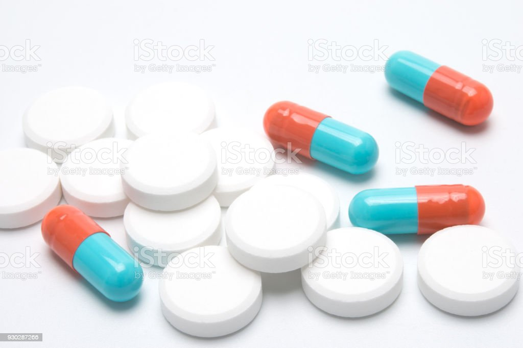 pills and capsules of medicine stock photo