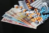 istock Pills and capsules on euro bills 1241318401