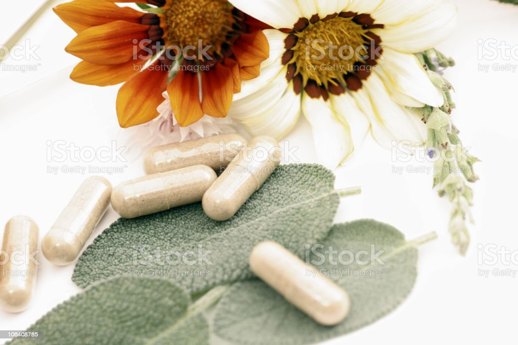 Pills and flower royalty-free stock photo