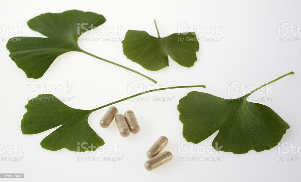 Pills and ginkgo biloba leaves on white background (XXL) royalty-free stock photo