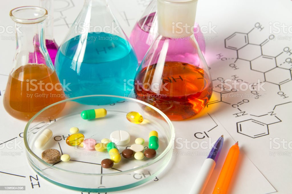 Pills and medication in medical laboratory
