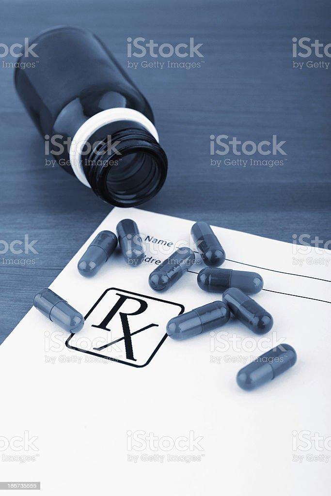 Pills and prescription royalty-free stock photo