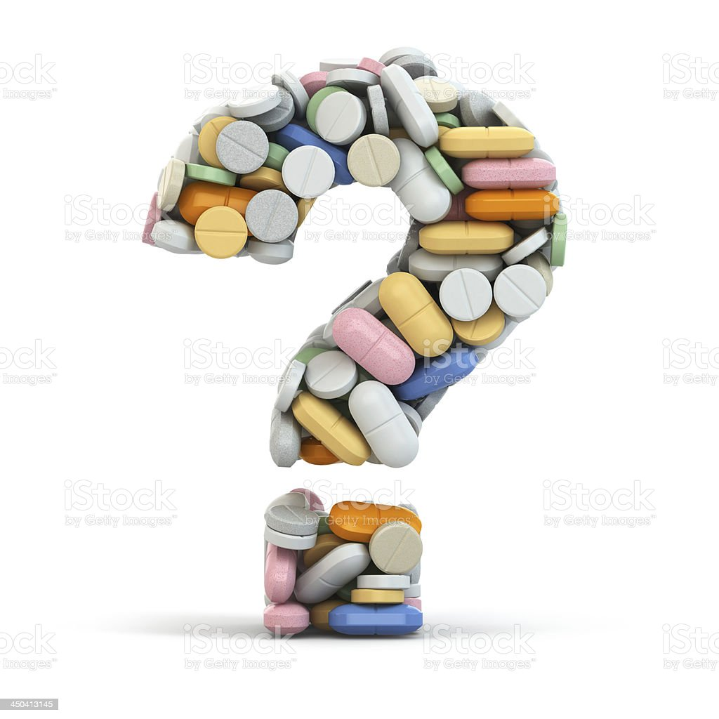 Pills as question. Medical concept. stock photo