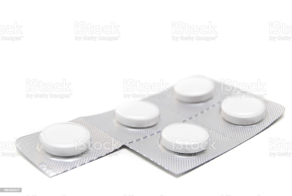 pills blister on white background with shadow royalty-free stock photo