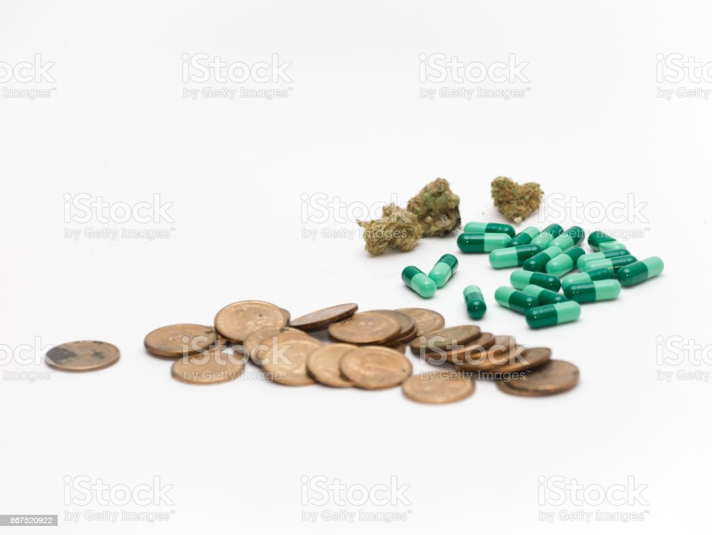 Pills, Buds, and Money stock photo