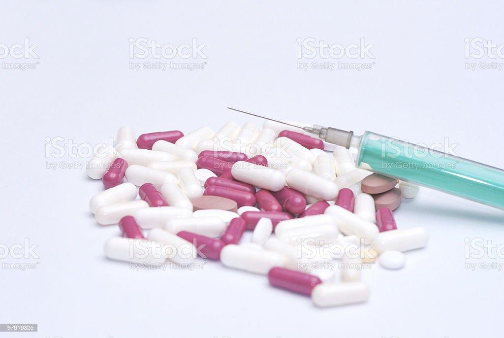 Pills, Capsules and syringe royalty-free stock photo
