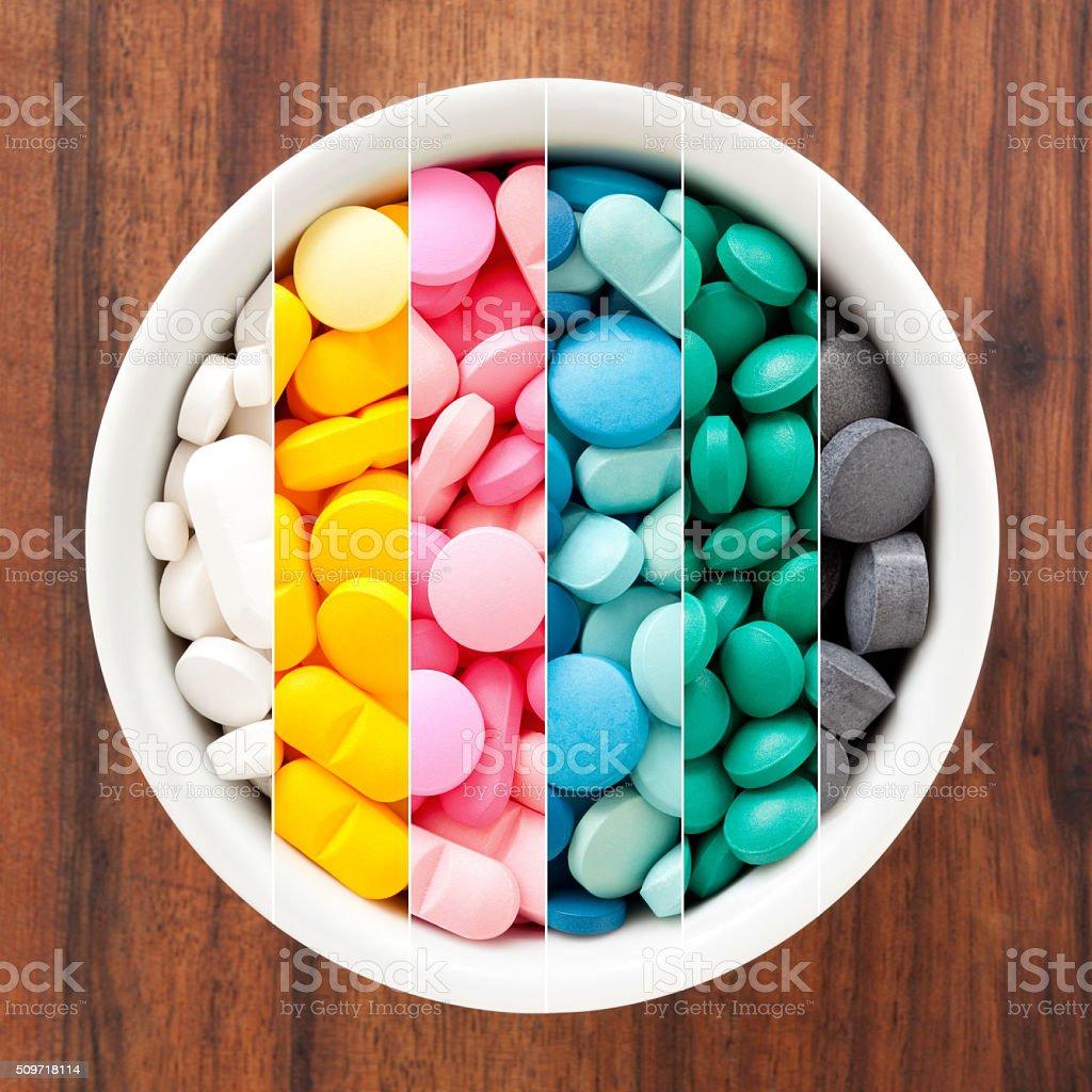 Pills composition stock photo