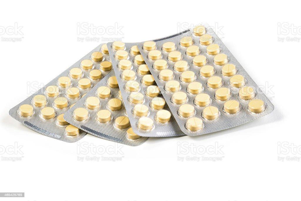 Pills in blister stock photo