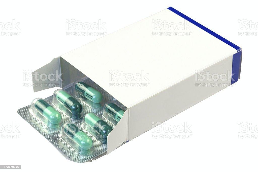 Pills in plain box stock photo