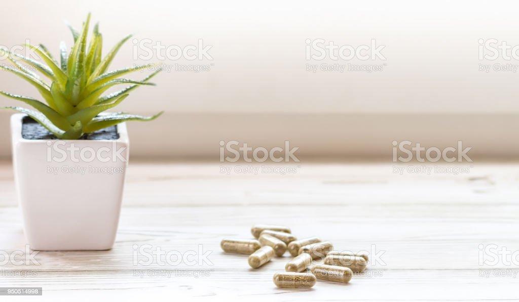 CBD pills isolated stock photo