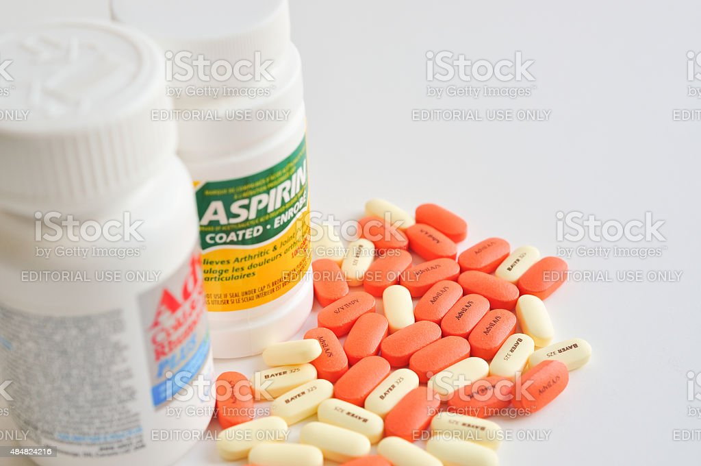Pills of aspirin and advil stock photo
