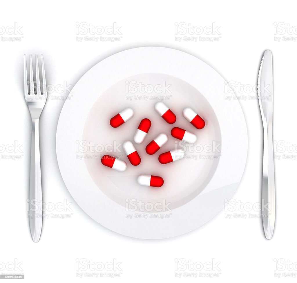 Pills on a plate royalty-free stock photo