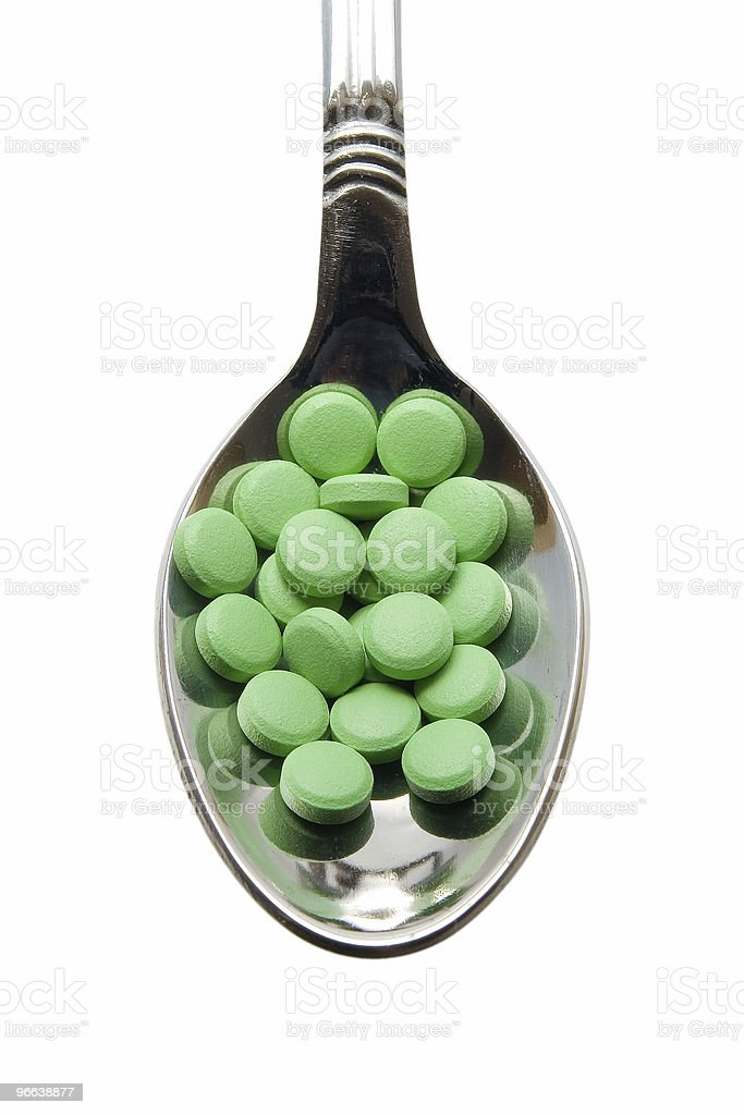 Pills on a spoon royalty-free stock photo