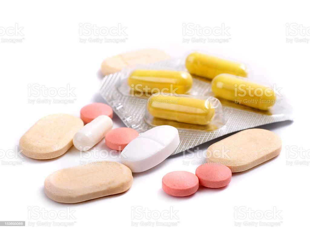 Pills  on a white background royalty-free stock photo