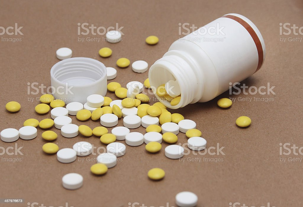 pills on bottle royalty-free stock photo