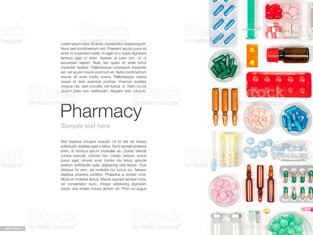 pills on white background stock photo