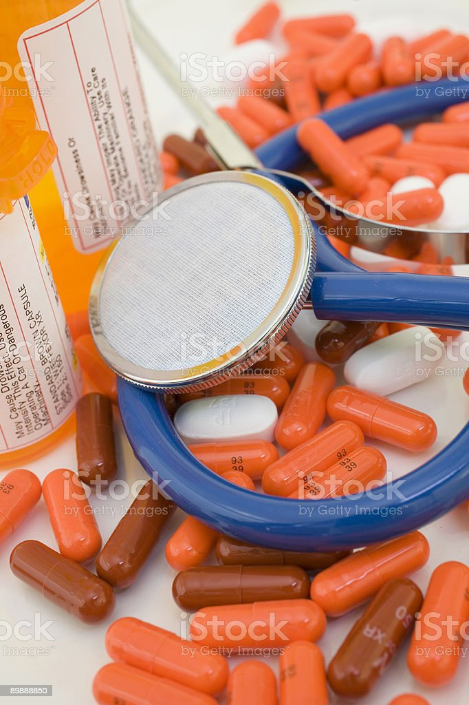 pills stethoscope royalty-free stock photo