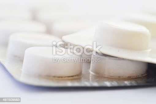 pills tablets isolated on white background macro close up shot