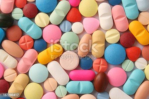 Full frame shot of pills over white