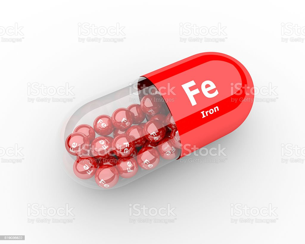 pills with iron Fe element dietary supplements stock photo
