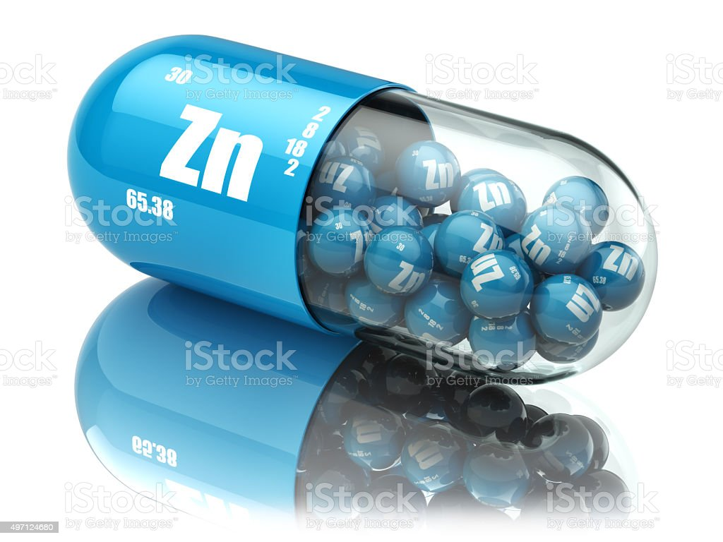 Pills with zinc Zn element Dietary supplements. Vitamin capsules stock photo