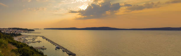 Pilos in Greece panorama during sunset stock photo